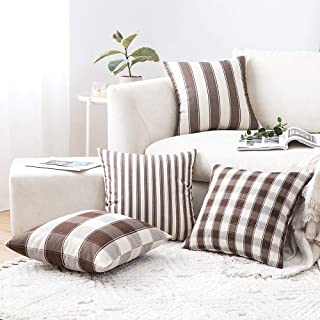 MIULEE Pack of 4 Decorative Farmhouse Throw Pillow Covers Buffalo Check Stripe Pillowcases Cotton Linen Cushion Case for Couch Sofa Bedroom, 18 x 18 Inch, Brown
