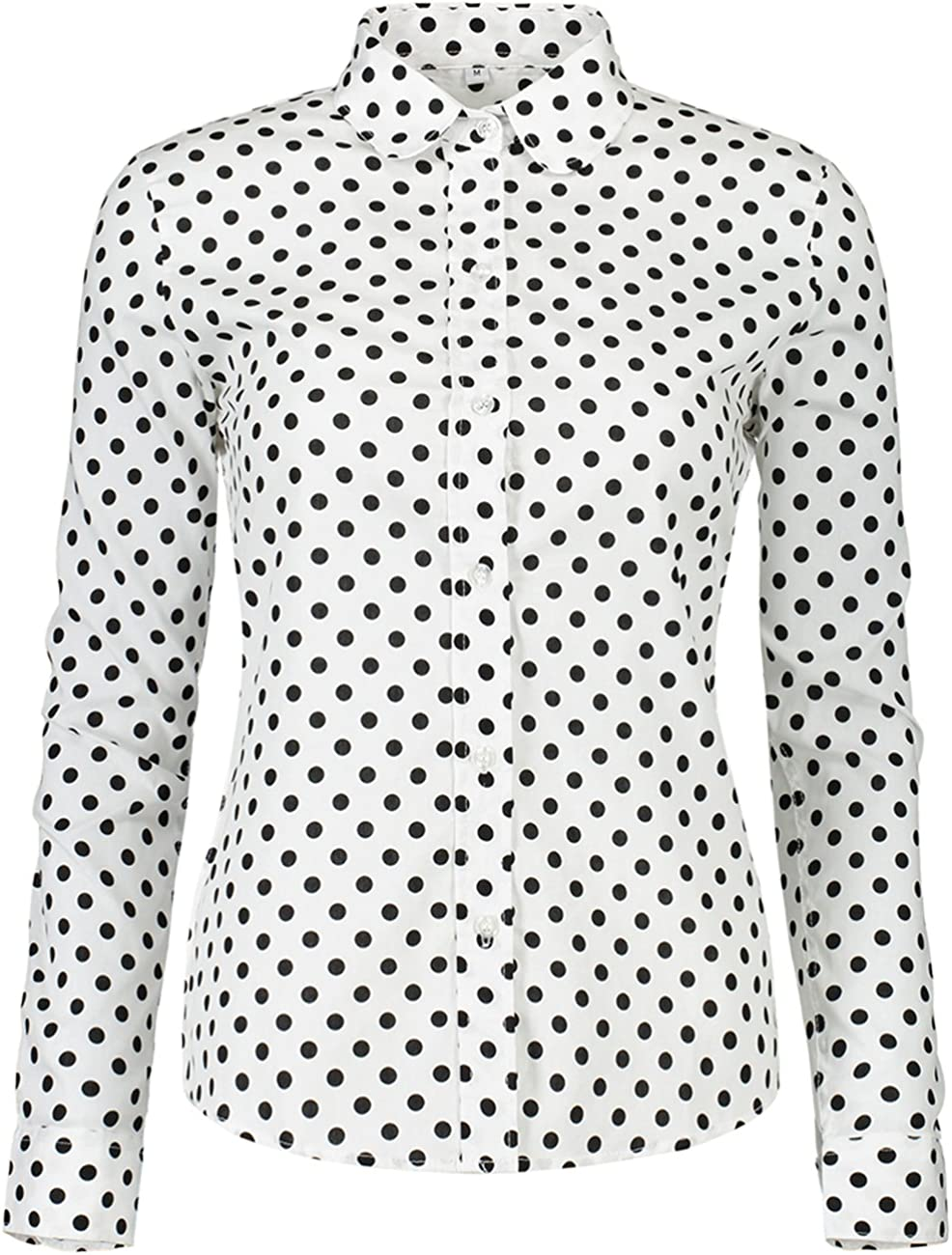 ERZTIAY Women's Tops Feminine Long Sleeve Polka Dotted Button Down Casual Dress Blouses Shirts