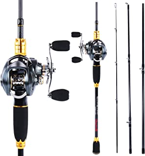 Sougayilang Fishing Rod and Reel Combos,24-Ton Carbon Fiber Fishing Poles with Baitcasting Reel,7.0:1 Gear for Travel Fres...