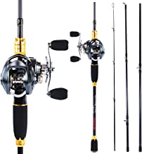 Sougayilang Fishing Rod and Reel Combos,24-Ton Carbon Fiber Fishing Poles with Baitcasting Reel,7.0:1 Gear for Travel Freshwater