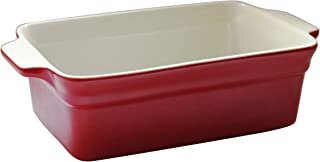 Lonovel Rectangular Baking Dish Roasting Lasagna Pan,11.5-Inch Classic Stoneware Ceramic Large Rectangular Bakers,Red