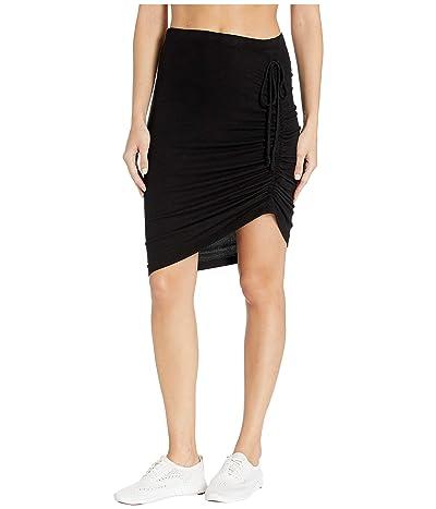 Splendid Ribbed Asymmetrical Knit Skirt (Black) Women