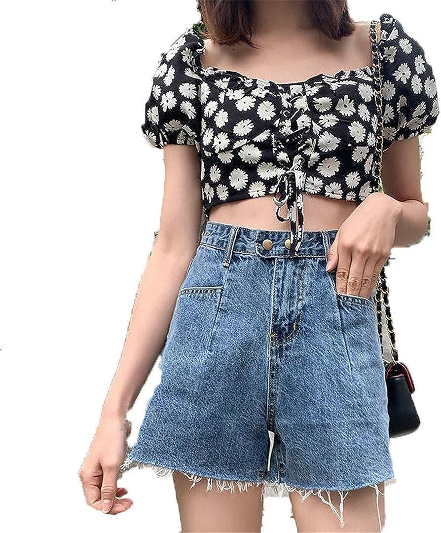 Women Loose Fit Summer Blue Denim Shorts Vintage Streetwear Jeans Shorts