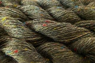 Charcoal Gray Multicolor Slubs Tweed Wool Blend Fingering Yarn