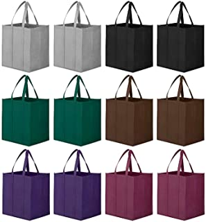 WiseLife Reusable Grocery Bags 12 Pack, Large Foldable Shopping Bags Tote Bags,Eco-Friendly Produce Bags with Long Handle ...