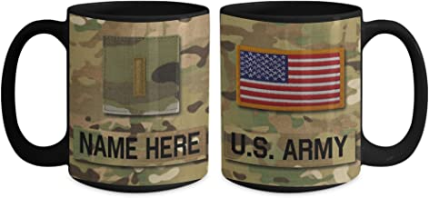 US Army 2nd Lieutenant (2LT), O1 Mug - Personalized - Customize with Name/Text/Rank; 15 oz Cup - Gift for Veteran, Dad, Husband, Mom, Wife, Brother, Sister, Son, Daughter