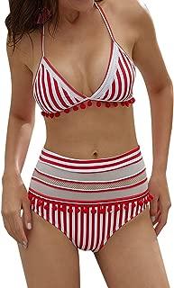 Women's Sexy High Waist Swimsuit Mesh Striped Halter Bikini Bathing Suits