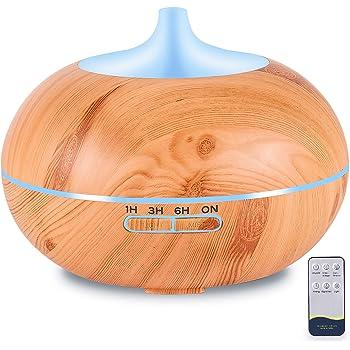 ODAR Difusor de Aceites Esenciales de 550ml, Aromaterapia Ultrasónico, con Control Remoto, Difusor de Aceite Esencial para Casa y Oficina con Luces LED de 7 Colores y Función de Apagado Automático