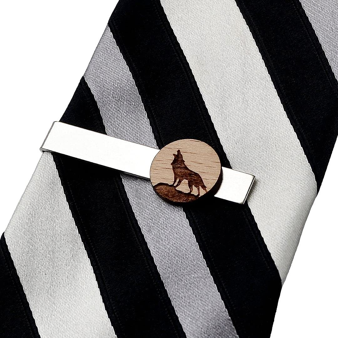 Quality Handcrafts Guaranteed Howling Wolf Wood Tie Clip