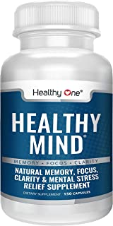 Healthy Mind Brain Booster Supplement - All Natural Nootropic | Increased Mental Clarity, Focus, Memory | No Added Stimula...