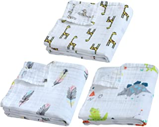 3 Packs Baby Swaddle Blanket Large Premium Knit Baby Burp Cloth Muslin Baby Blankets for Girls & Boys