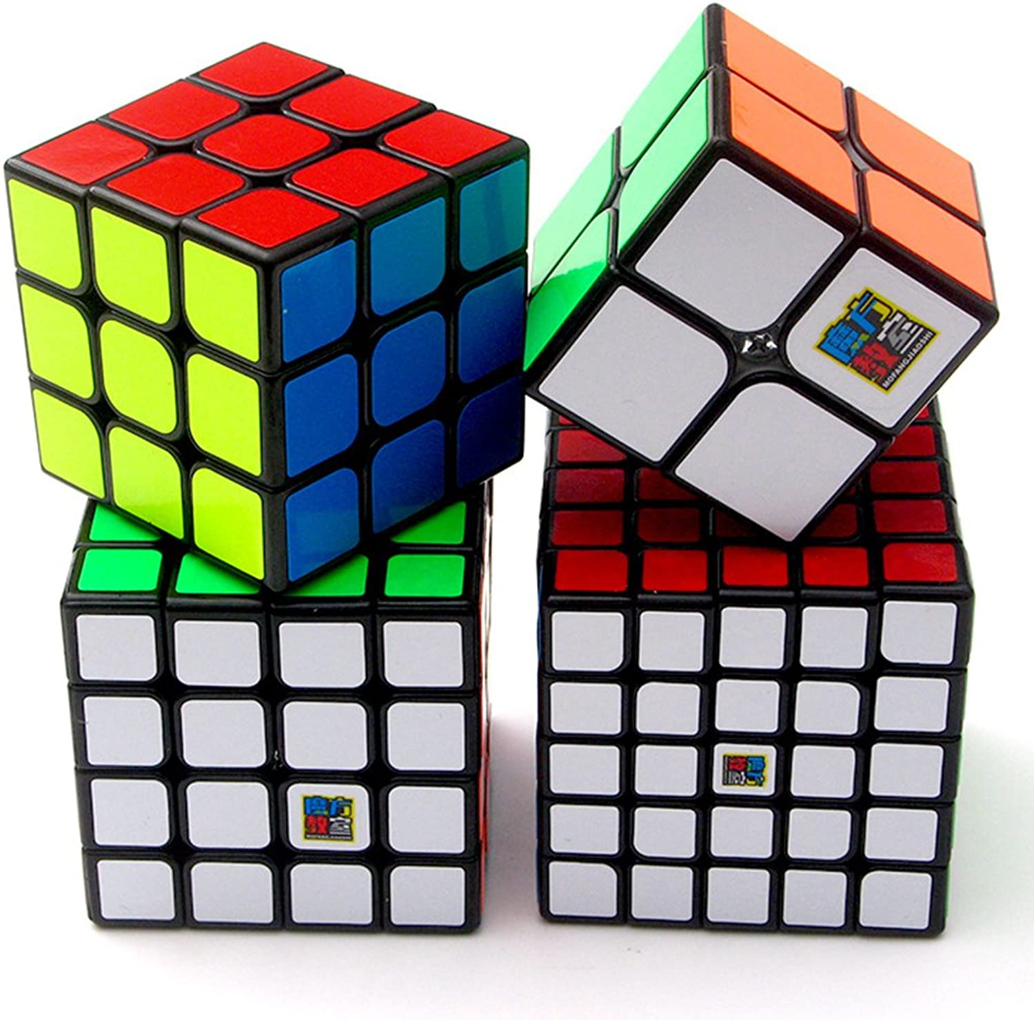 Speed Cube Puzzle Pack   2x2 3x3 4x4 5x5 Sticker Cube Set Black  4 Pieces Magic Cubes Collection   Puzzle Toys Brain Teaser Gifts
