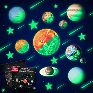 PDTO Glow in The Dark Stars and Planets Ceiling Wall Stickers Glowing Bright Solar System Wall Decals with 50Pcs Planets Stars Shooting Stars for Kid Bedroom Living Room
