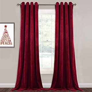 StangH 108-inch Long Velvet Curtains - Luxurious Velvet Fabric Room Darkening Draperies Decorative Large Backdrops for Home Theater/Sliding Glass Door, Red, W52 x L108 inches, 2 Panels