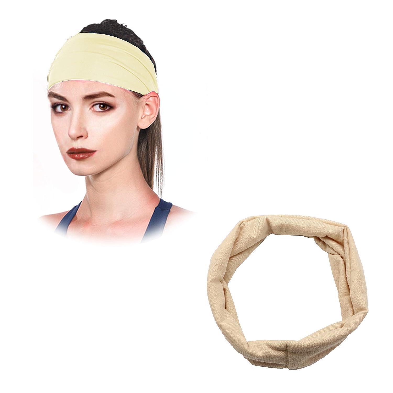 Dofash 1Pcs New Euro-American Sports Running Fitness Pure Color Elastic Headband Fit For Women (Khaki)