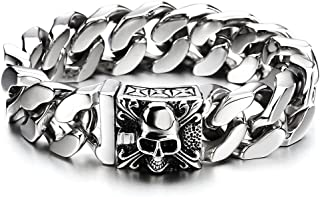 Mens Large Stainless Steel Curb Chain Bracelet with Fleur De Lis and Skull, Biker Gothic, Polished(AU)