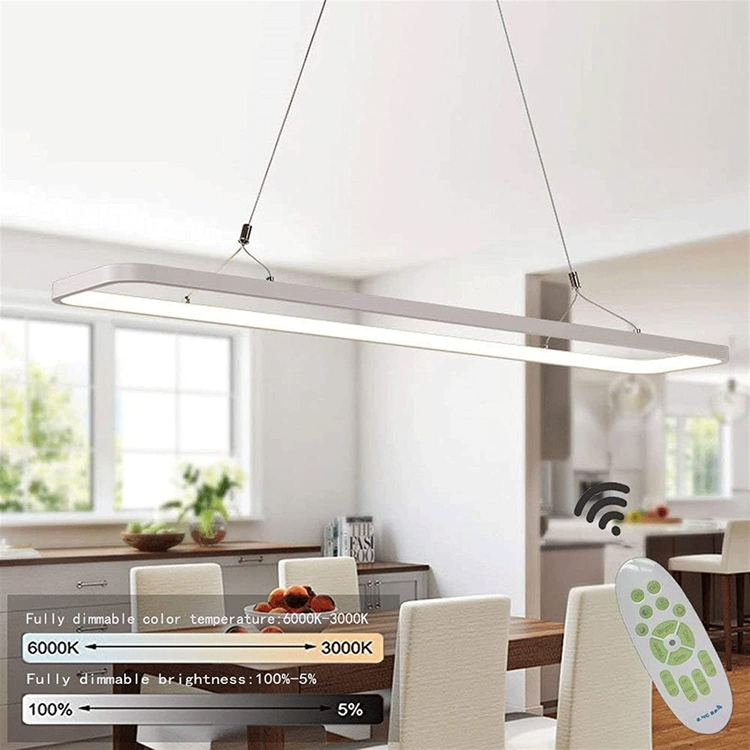 Time sale Chandelier Fixture Modern Same day shipping 36W LED Restaurant Rectangle Chandelie