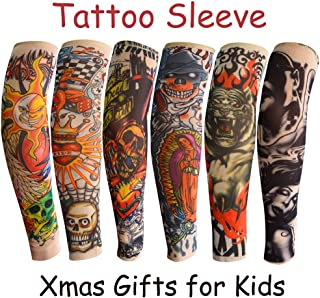 Fake Temporary Tattoo Arm Sunscreen Sleeves for Kids Boy Girls 3-8 Years Old, Body Art Arm Stockings Slip on Accessories for Halloween Cosplay Party Props - Designs Tiger, Crown Heart, Skull, Tribal
