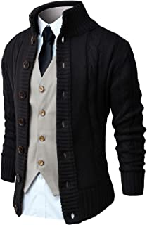 NITAGUT Mens Long Sleeve Stand Collar Cardigan Sweaters Button Down Cable Knitted Sweater
