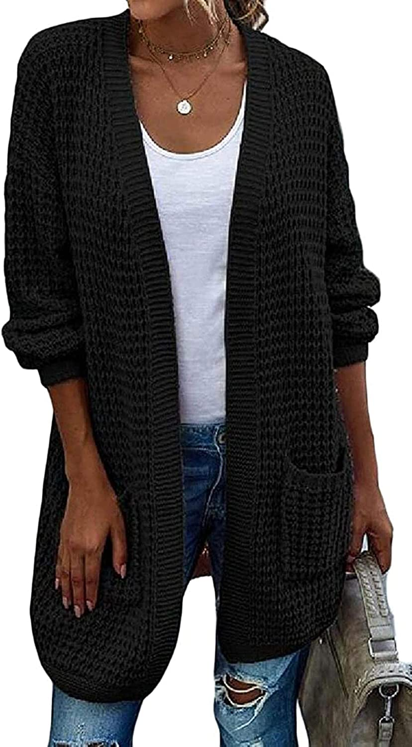 Women's Solid Sacramento Mall Relaxed Fit Cardigan Open-Front All items free shipping Contrast