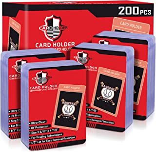 200 Counts Toploaders Card Saver Semi Rigid Card Holder Card Sleeves for Trading Cards, Baseball Cards Sleeves Toploader P...