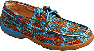Twisted X Women's Multi Canvas Lace Up Driving Mocs Moc Toe
