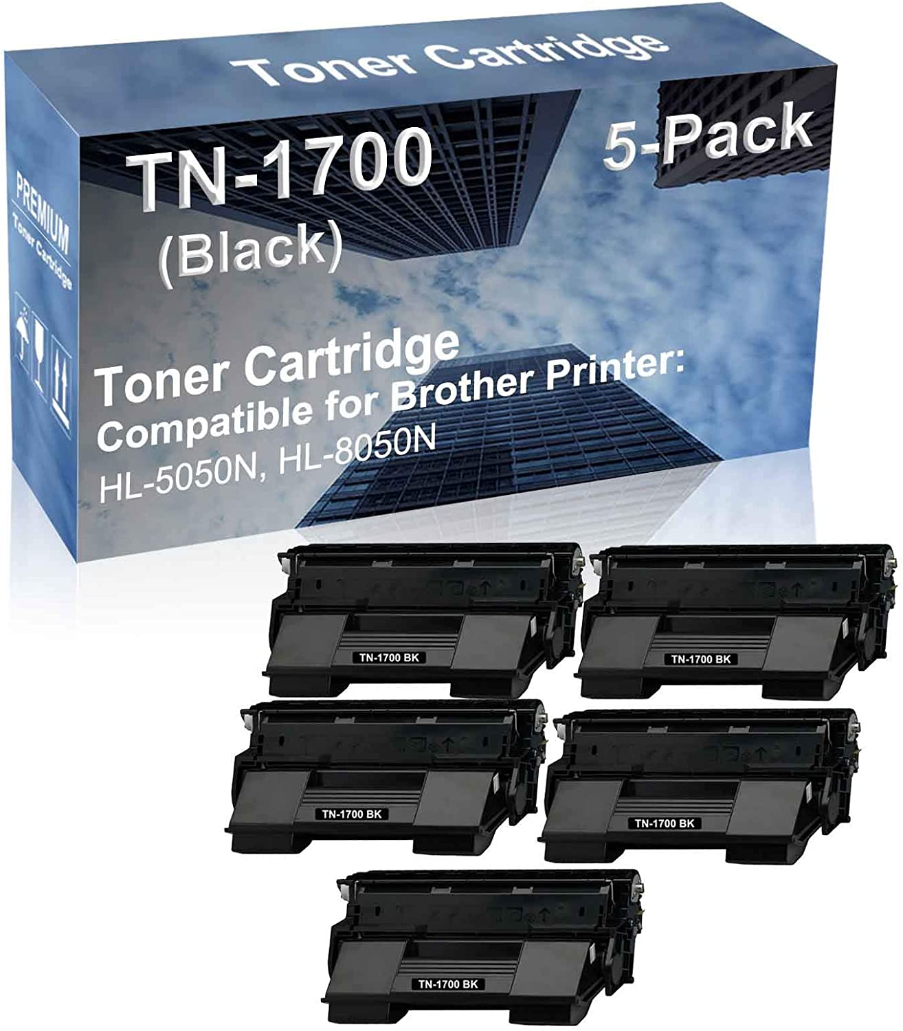 5-Pack Compatible High Yield HL-5050N, HL-8050N Printer Cartridge Replacement for Brother TN-1700 Toner Cartridge (Black)