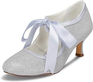 JIA JIA Bridal 140311 Satén de Encaje de Tacón Bajo Cerrado Baile de Salón Zapatos de Baile de La Boda Wommen Pumps