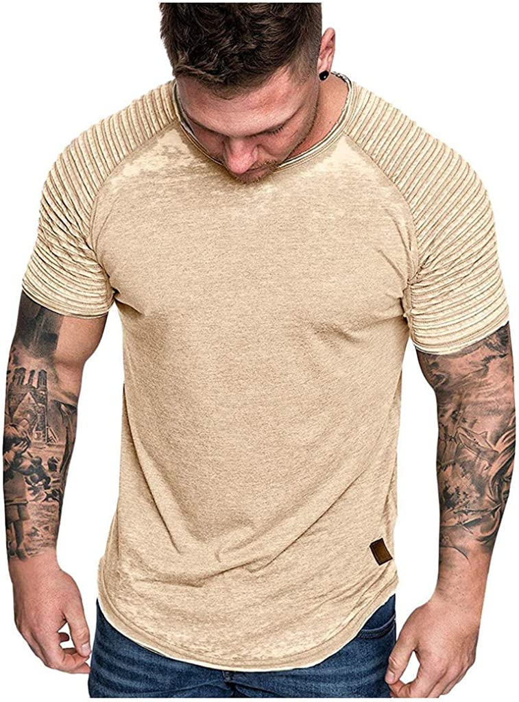 Forthery Men Casual Short Sleeve Slim Fit T-Shirt Fashion Pleated O Neck Short Sleeve Shirt Solid Basic Tee Running Tops