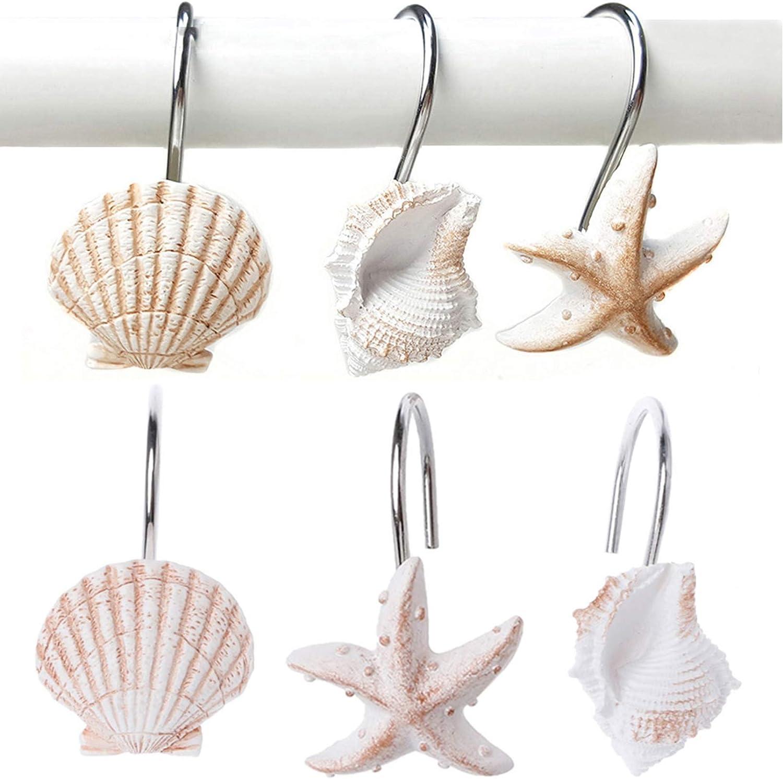 YUKUNTANG Shower Curtain Hooks New color 12 Decora Pcs Over item handling Seashell Rust Anti