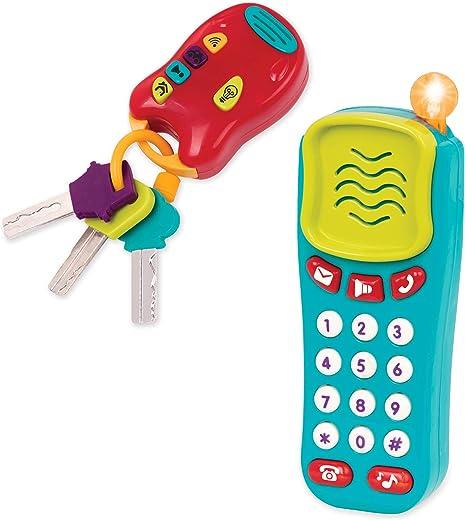Battat Combo Set - Light & Sound Phone + Keys - Toddlers Ages 0+ (2 Piece)