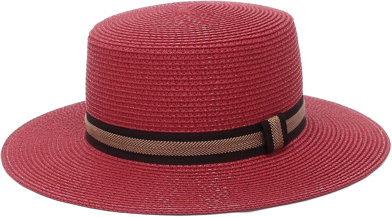GEMVIE Womens Classic Straw Boater Hat Summer Flat Top Sun Hat Beach Fedora Panama Straw Sun Hat for Outdoor Travel