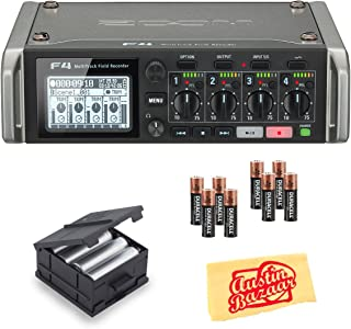 Zoom F4 MultiTrack Field Recorder Bundle with Zoom BCF-8 Battery Case, 8 Batteries, and Austin Bazaar Polishing Cloth