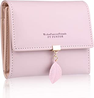 RFID Wallets for Women,Ladies Wallets with Zipper Pocket Trifold Wallets for Women with Leaf