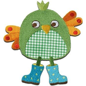 grün Jeansflicken Vogelscheuche 9,8x7,1cm Aufnäher // Bügelbild