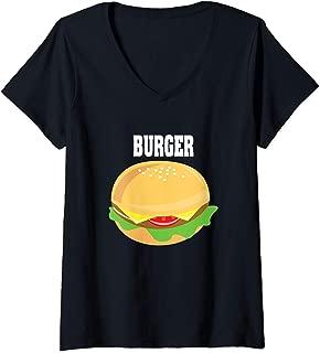Womens Cheeseburger Halloween Costume Hamburger V-Neck T-Shirt