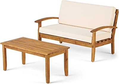Christopher Knight Home Peyton Outdoor Acacia Wood Loveseat and Coffee Table Set with Water Resistant Cushions, Teak Finish / Beige