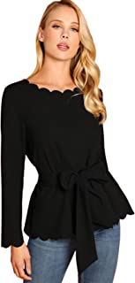 Romwe Women's Bow Self Tie Scalloped Cut Out Elegant Office Work Tunic Blouse Top