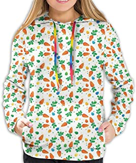 Women's Hoodie,Orange Carrots Colorful Eggs and Dots in Cartoon Style Fresh and Healthy Bunny Food,Lady Sweatshirt