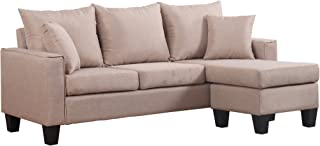 Divano Roma Furniture EXP72-APRICOT Modern Sectional, Apricot
