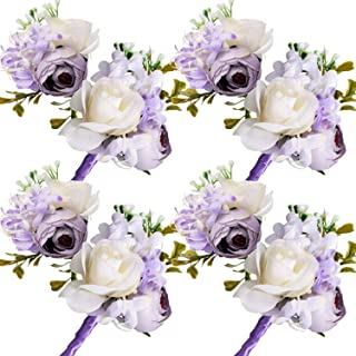 Maitys Wrist Corsage and Boutonniere Set Buttonholes for Women and Men Corsage Wristband Roses Wedding Accessories for Groom Groomsman Brides Prom (8, Purple)