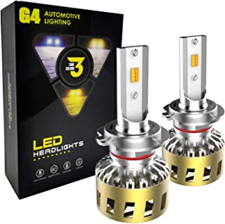 SOCAL-LED LIGHTING H7 Switchback Headlight Bulb Conversion Kit Super Bright 40W CSP 3-Color-IN-1, 3K Yellow, 4K OEM, 6K Wh...