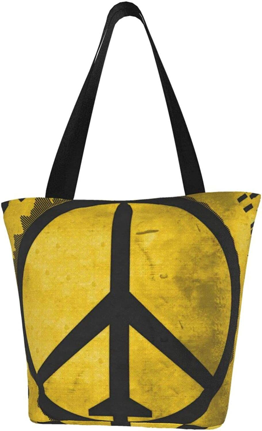 Yellow Fighter Jet Peace Sign Art Themed Printed Women Canvas Handbag Zipper Shoulder Bag Work Booksbag Tote Purse Leisure Hobo Bag For Shopping
