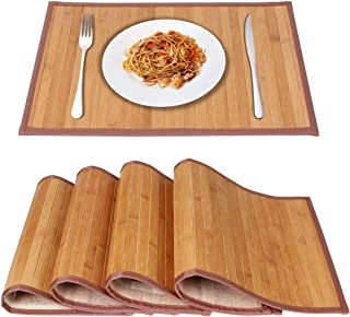 MARSCOOL BambooPlacematsforKitchenTable, PlacematsSet of4,Stain-Resistant,Heat-ResistantPlaceMats,TablePlaceMatsDiningPlaceMatsfor DiningTable(Original)