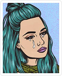 Big Lens store Teal Tears - Crying Comic Pop Art Girl Stickers (3 Pcs/Pack)