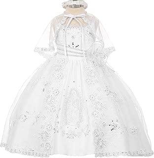 Little Girls' Virgin Mary Embroidery Baptism Christening Girl Dresses