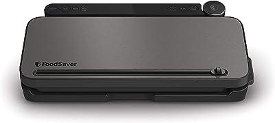 FoodSaver VS3150 - Sistema multiusos de sellado al vacío y conservación de alimentos con rollo adicional, acero inoxidable de carbón, color negro