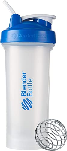BlenderBottle Classic V2 Shaker Bottle Perfect for Protein Shakes and Pre Workout, 28-Ounce, Clear/Blue