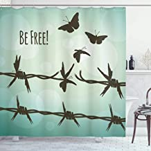 Ambesonne Barbed Wire Decor Collection, Barbed Wire Turning Into Flying Butterflies Liberty Broken Fences Art Quotes Be Free, Polyester Fabric Bathroom Shower Curtain, 84 Inches Extra Long, Brown Teal