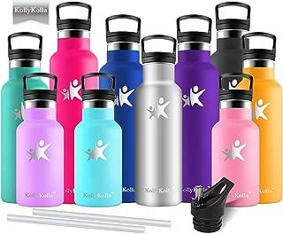 KollyKolla Botella de Agua Acero Inoxidable - 350ml/500ml/600ml/750ml, Termo Sin BPA Ecológica Reutilizable, Botella Termica con Pajita y Filtro, Water Bottle para Niños & Adultos, Deporte, Oficina